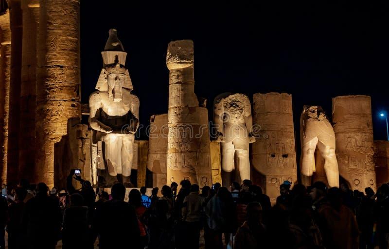 Turist som besöker templet av Luxor på natten i Luxor, Thebes, Egypten royaltyfri foto