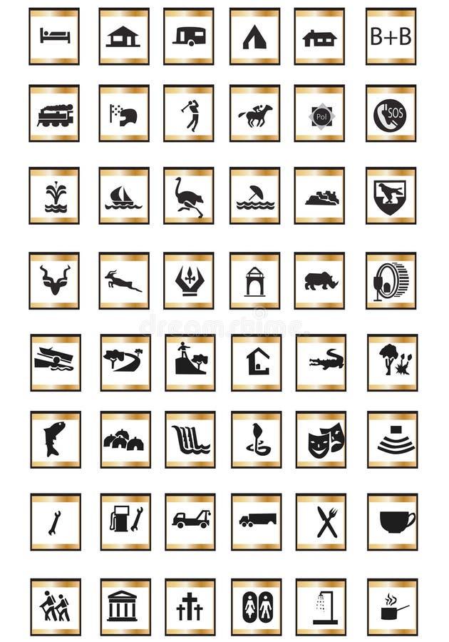 turist- symboler stock illustrationer