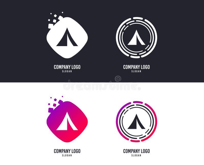 Turist- tältteckensymbol Campa symbol vektor stock illustrationer