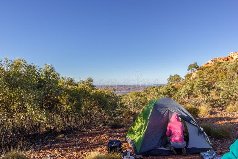 Turist- t?lt i l?ger bland ?ng i berget p? soluppg?ng med campire, Australien arkivfoton