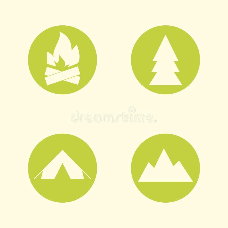 Turist- teckensymbolsuppsättning Campa symboler Resor vektor illustrationer