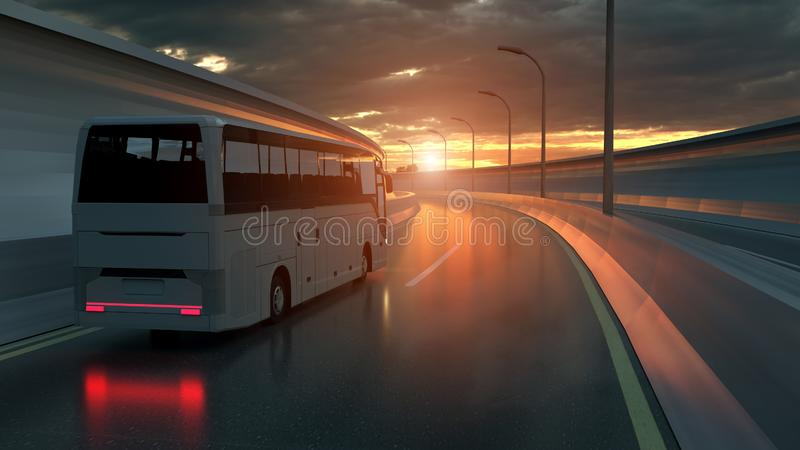 Turist- vit buss som k?r p? en huvudv?g p? solnedg?ngen som ?r bakbelyst vid en ljus orange sunburst under en illavarslande molni stock illustrationer