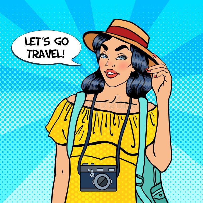 Turista bastante femenino de los jóvenes con la cámara ilustración del vector