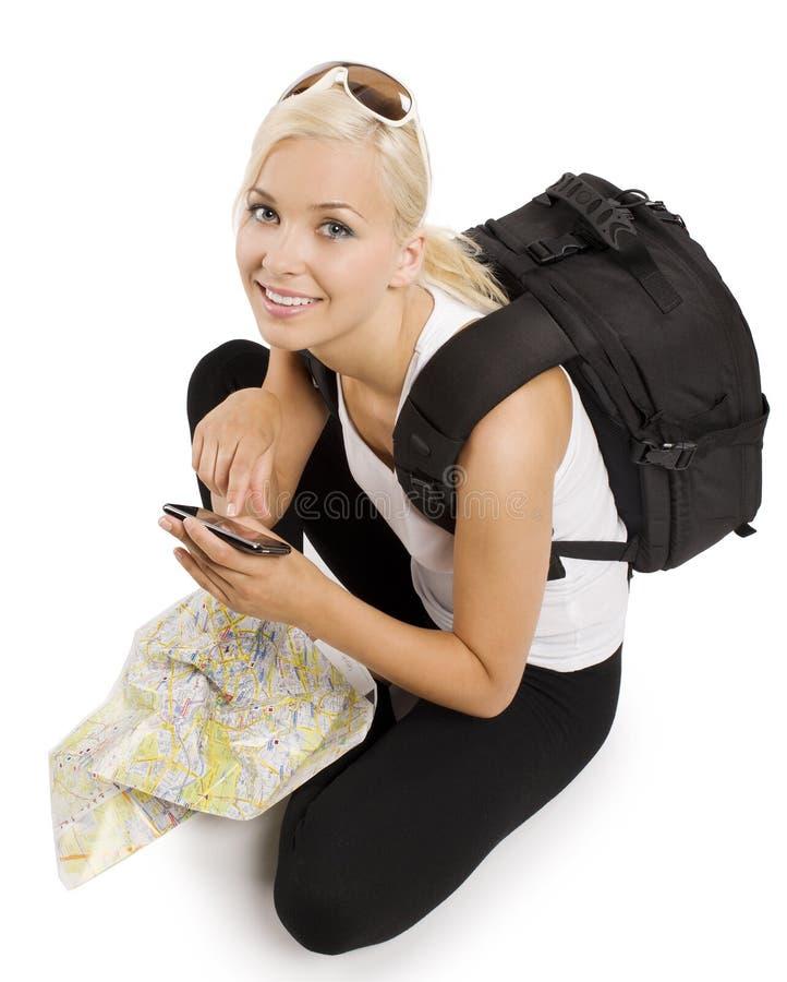Turista biondo con i gps fotografie stock
