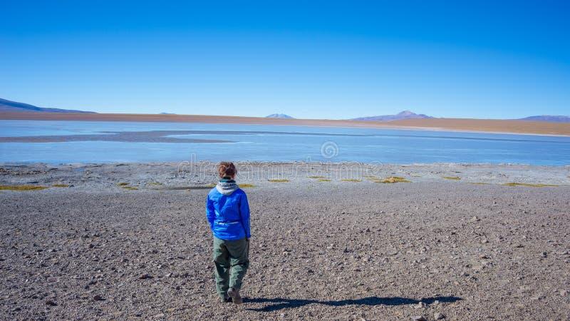 Turista che esamina pianamente il paesaggio sbalorditivo del lago congelato salato sulle Ande, viaggio stradale al sale famoso di immagine stock