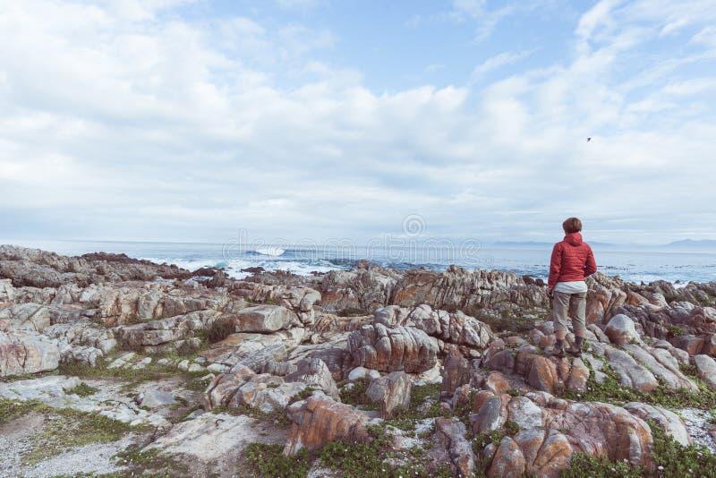 Turista che guarda con binoculare sulla linea rocciosa della costa De Kelders, Sudafrica, famoso per la sorveglianza della balena immagini stock libere da diritti