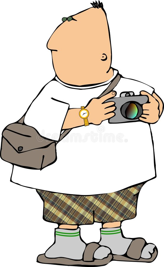 Turista com uma câmera ilustração stock