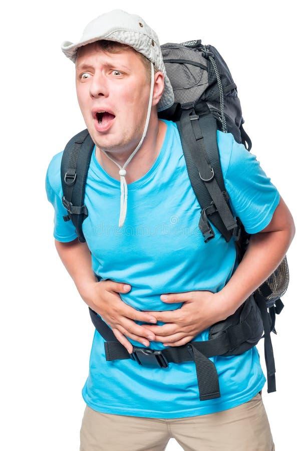Turista con diarrea che avverte dolore addominale immagine stock