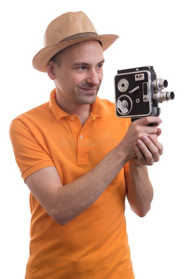 Turista con la retro macchina fotografica fotografie stock libere da diritti