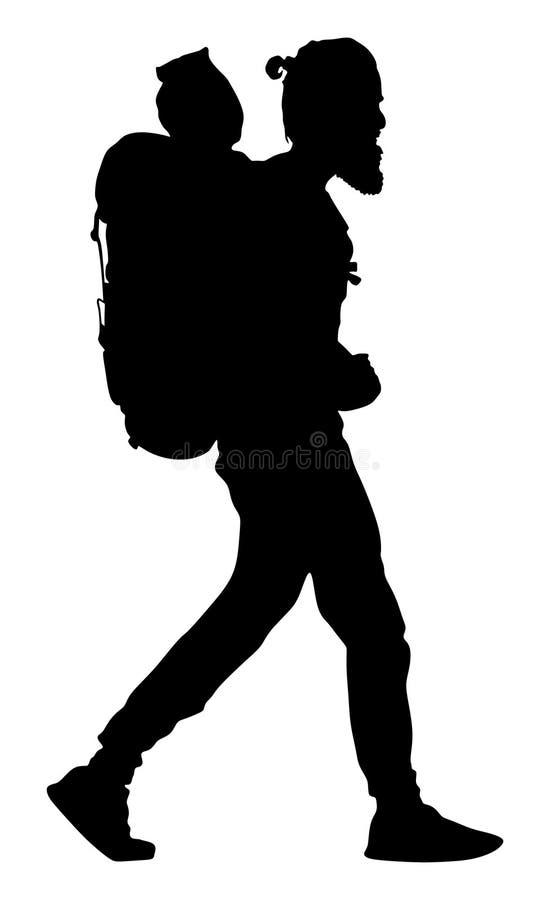 Turista con la silueta del vector de la mochila El viajar del hombre que acampa El caminar del muchacho Viajero en todo el mundo stock de ilustración