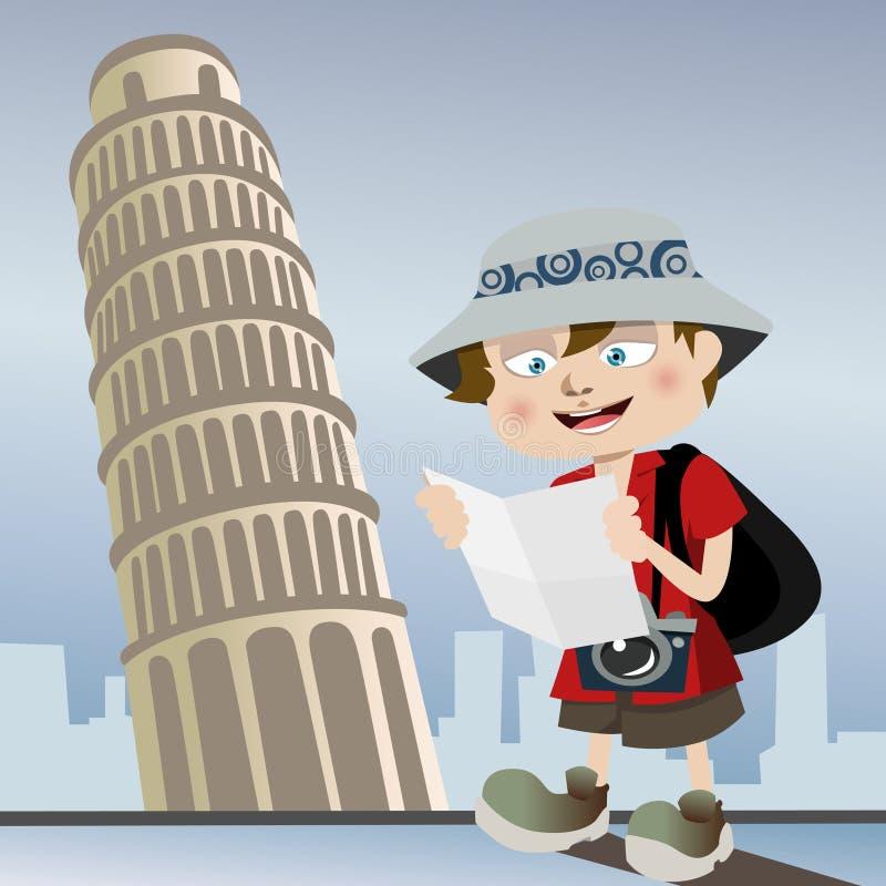 Turista con la torretta di Pisa illustrazione di stock