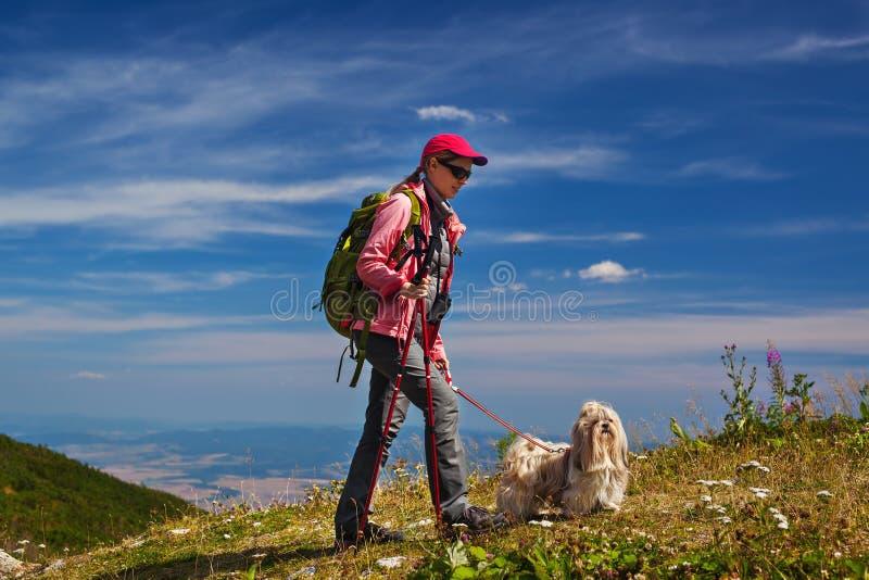 Turista da mulher com cão imagem de stock royalty free