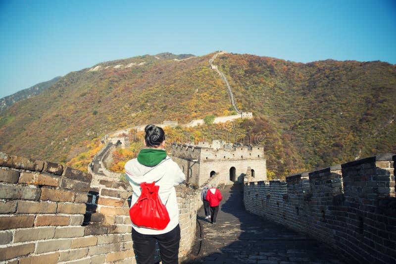 Turista de la chica joven de detrás en la vista de mirada de la Gran Muralla de fotos de archivo libres de regalías