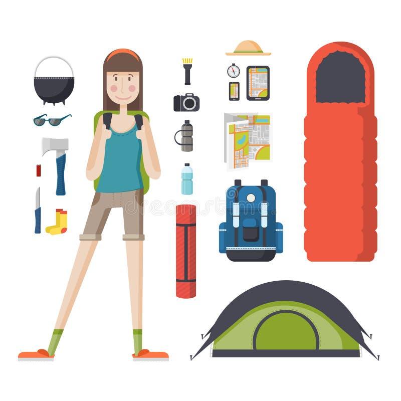 Turista de la muchacha con una mochila y un sistema de cosas turísticas stock de ilustración