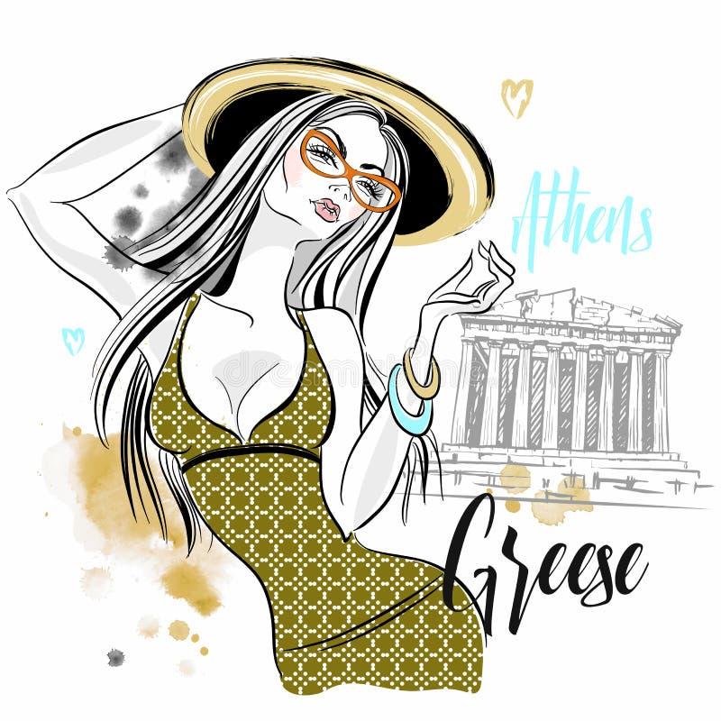 Turista de la muchacha en Grecia Parthenon de la acr?polis de Atenas Viajes Vector libre illustration