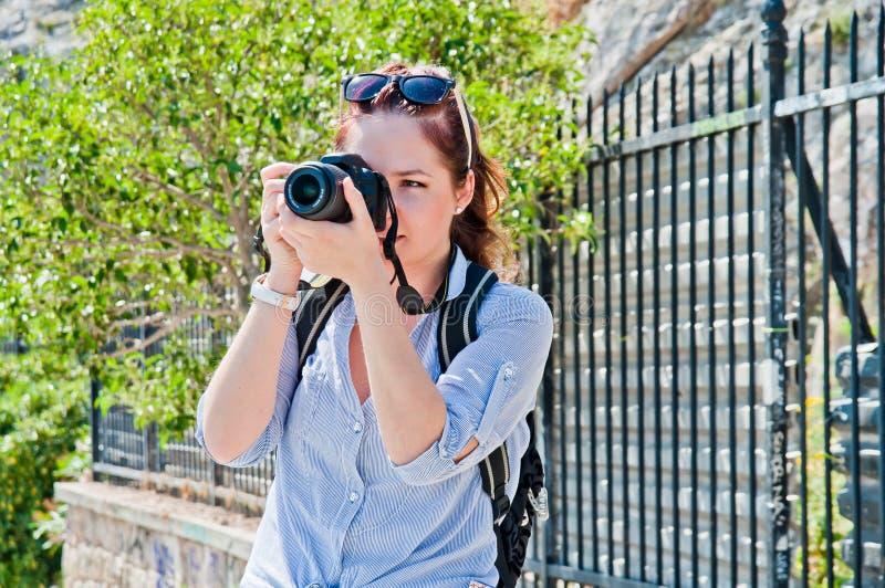 Turista de la mujer imagenes de archivo