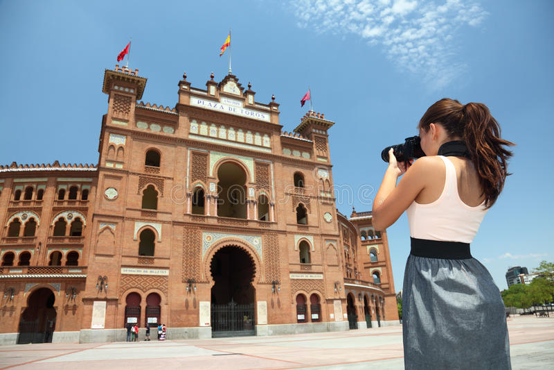 Turista de Madrid - Toros De Las Ventas, Spain foto de stock