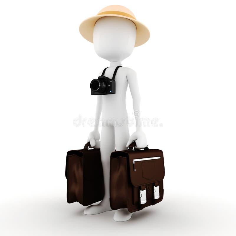 turista del hombre 3d stock de ilustración