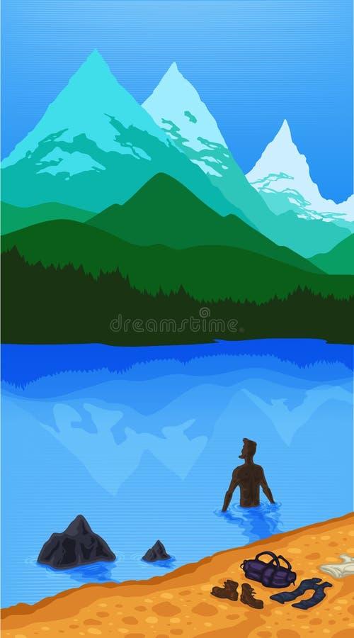 Turista del mar de la montaña del paisaje stock de ilustración