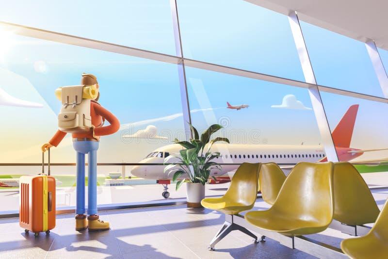 Turista del personaje de dibujos animados en aeropuerto ilustración 3D Hombre que considera hacia fuera la ventana el vuelo plano libre illustration