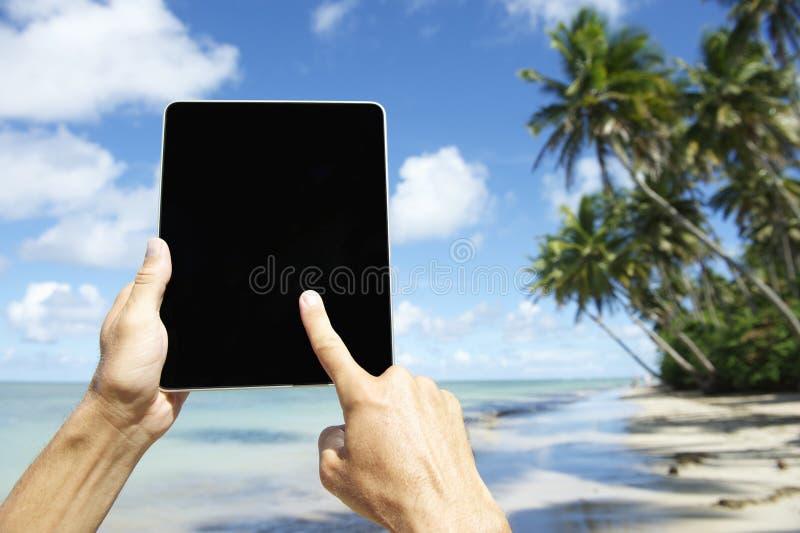 Turista di viaggio che utilizza compressa alla spiaggia in Nordeste Bahia Brazil fotografia stock libera da diritti