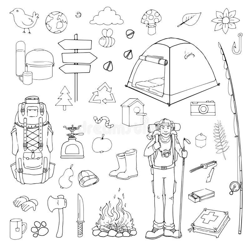 Turista dibujado mano stock de ilustración