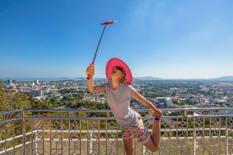 Turista divertente del selfie fotografia stock libera da diritti