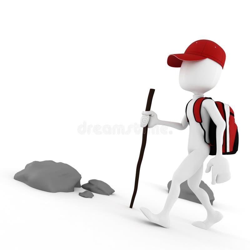 turista do homem 3d com uma trouxa vermelha grande ilustração stock