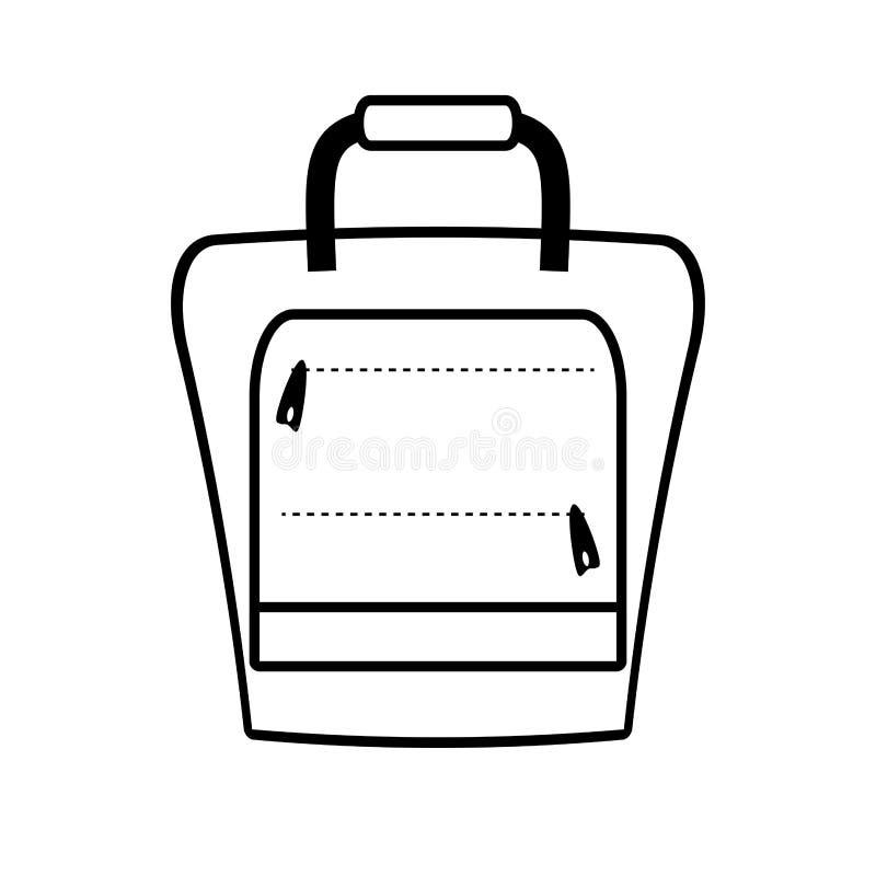 Turista do saco do curso do packback da mala de viagem do esboço ilustração stock