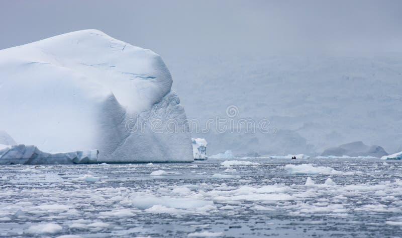 Turista em um zodíaco que viaja em águas antárticas fotos de stock