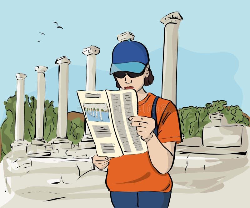 Turista en el ejemplo arqueológico del sitio libre illustration