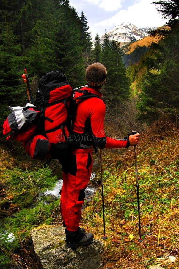 Turista en las montañas de Cárpatos imagen de archivo libre de regalías