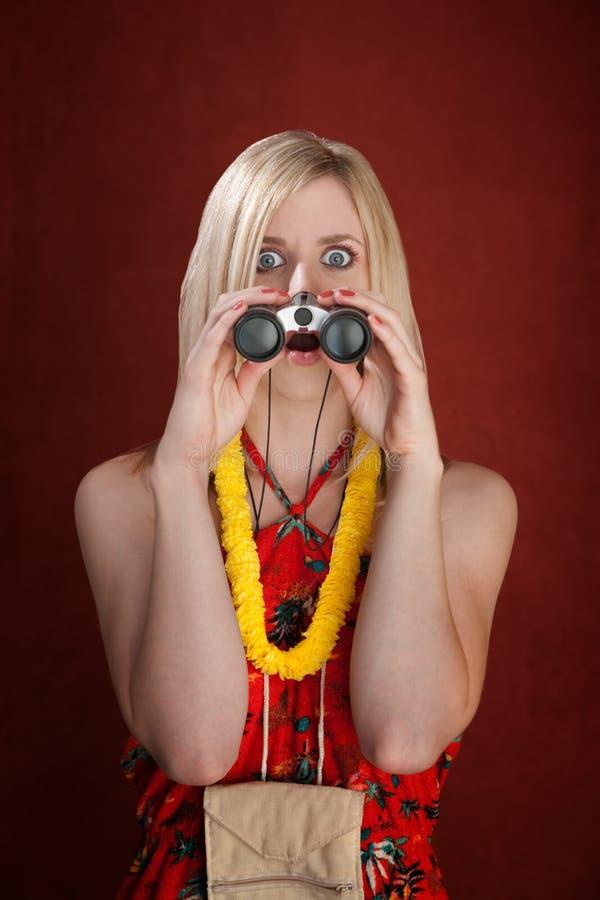 Turista fêmea choc imagens de stock royalty free