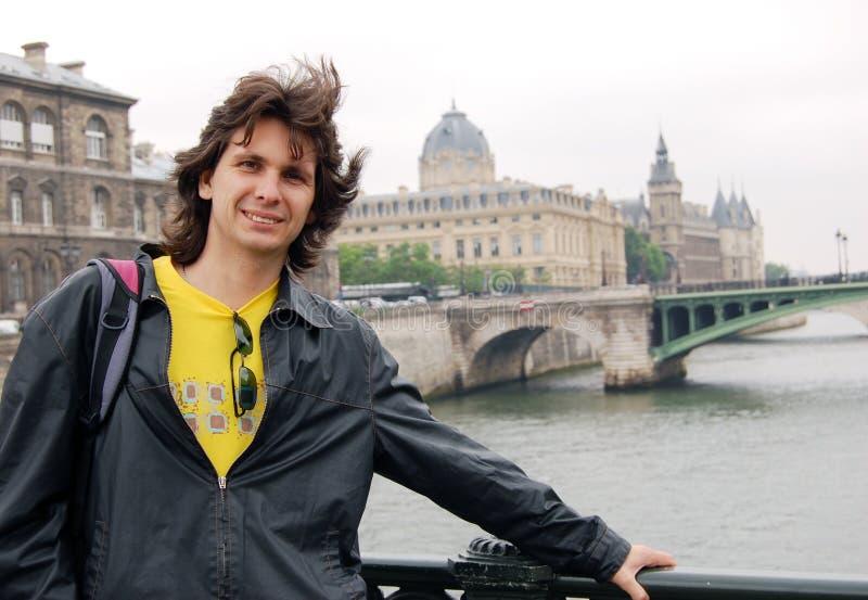 Turista feliz fotografia de stock