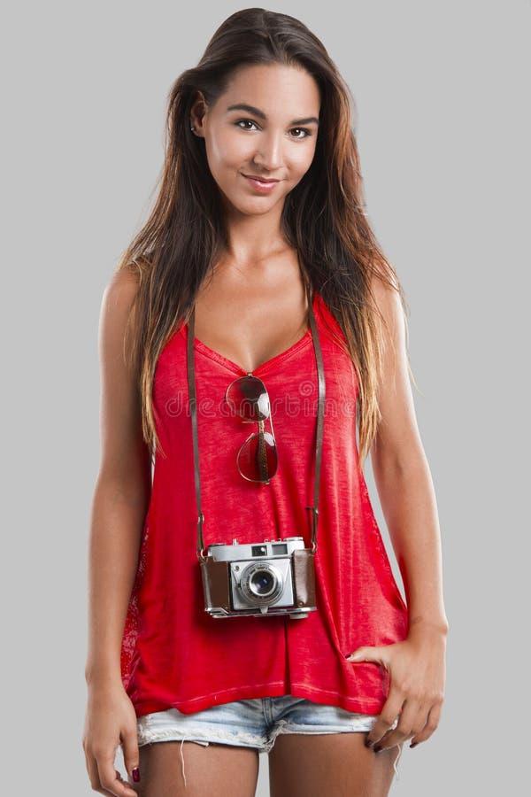 Turista feliz imagen de archivo libre de regalías