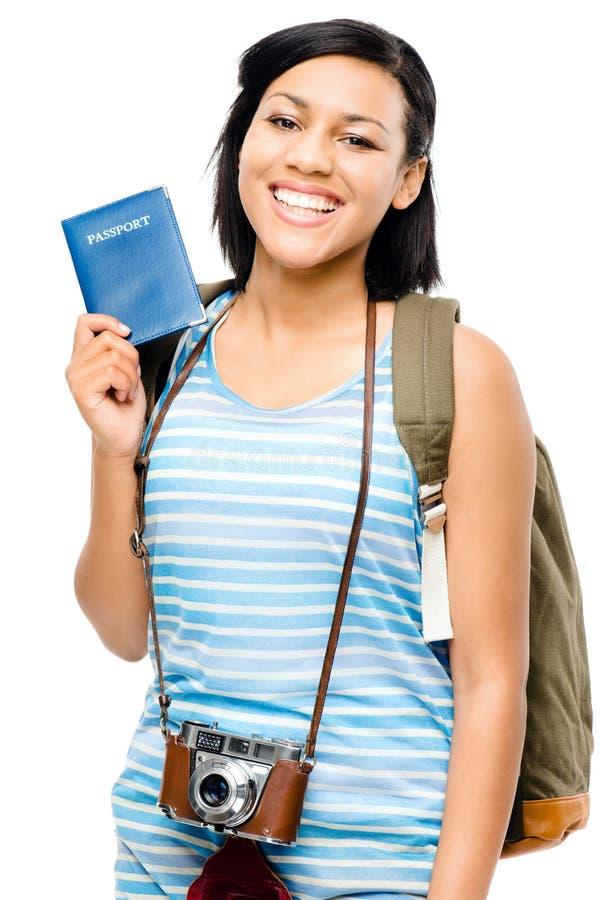 Turista feliz que guarda a mulher do fotógrafo da câmera do passaporte imagens de stock royalty free