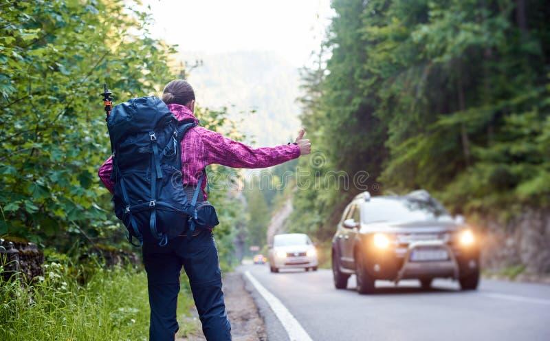 Turista femenino con la mochila que hace autostop un coche en el camino de la montaña con las colinas y los árboles rocosos verde fotos de archivo libres de regalías