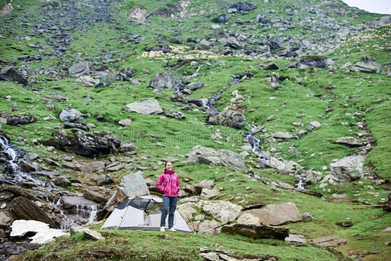 Turista femenino sonriente de los jóvenes que coloca la tienda cercana en prado rocoso verde en montañas en Rumania fotos de archivo