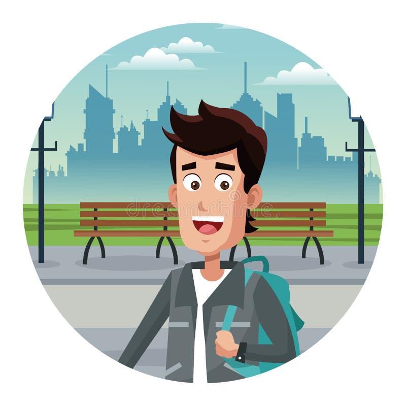 Turista joven en la ciudad libre illustration