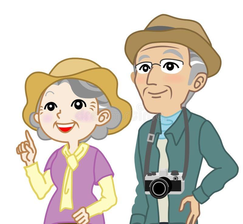 Turista mayor de los pares que mira para arriba - la cintura para arriba, aislado ilustración del vector