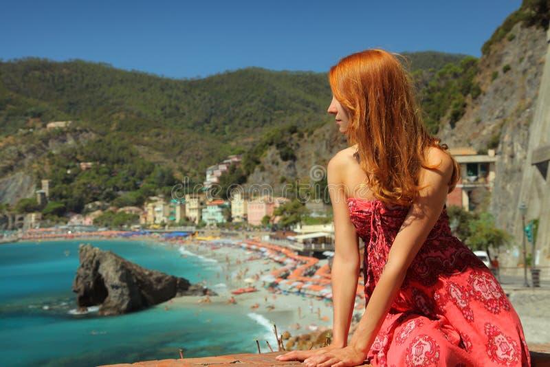 Turista in Moterosso fotografia stock libera da diritti