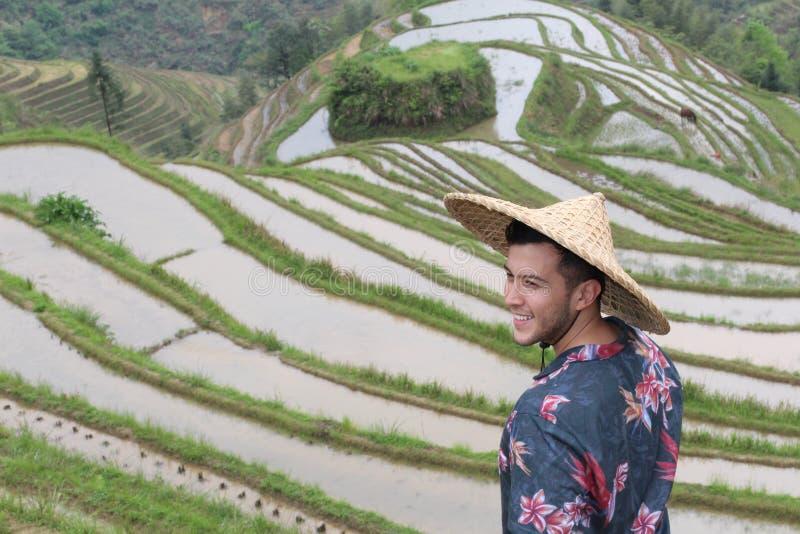 Turista na plantação tradicional do arroz fotografia de stock royalty free