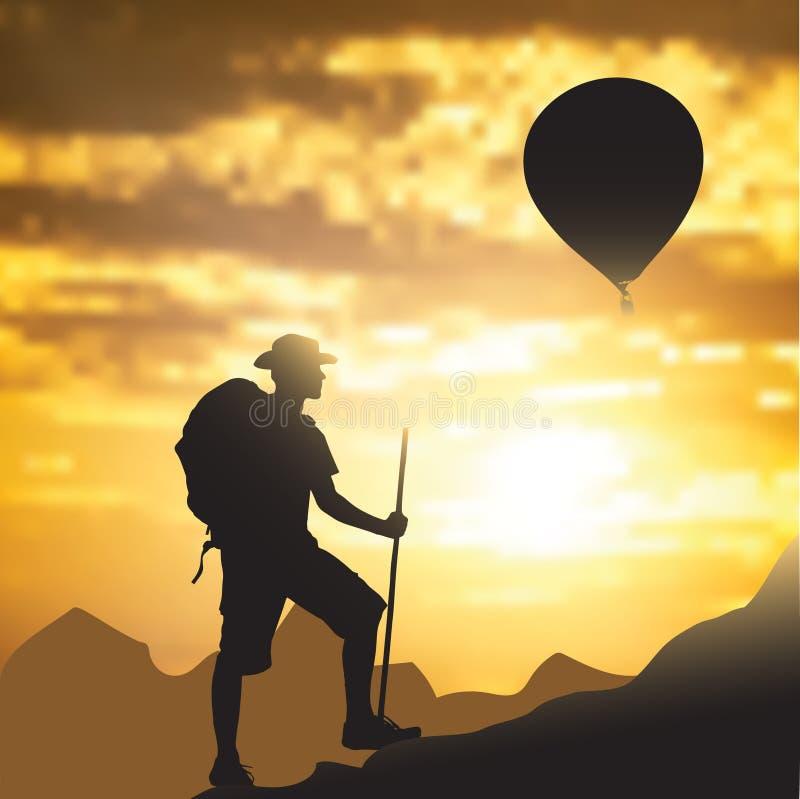 Turista nas montanhas ilustração do vetor