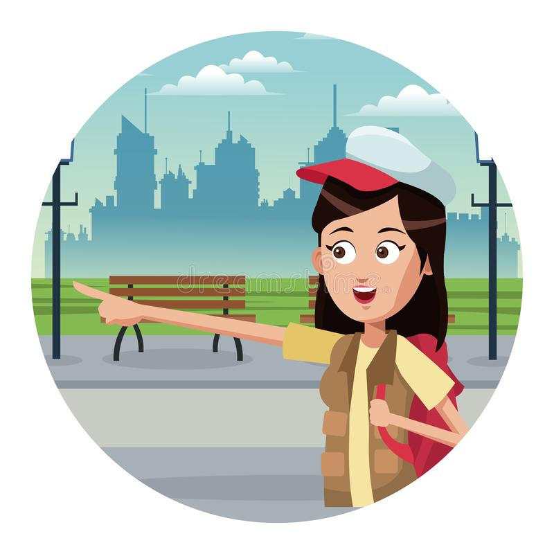 Turista novo na cidade ilustração stock