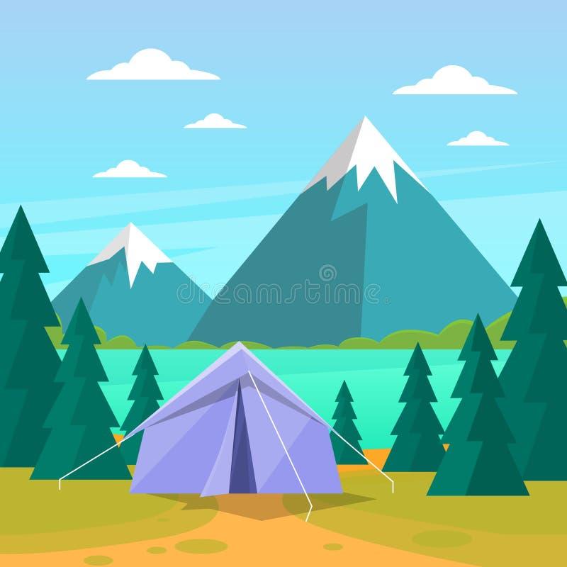 Turista que acampa Forest Mountain Expedition de la tienda ilustración del vector