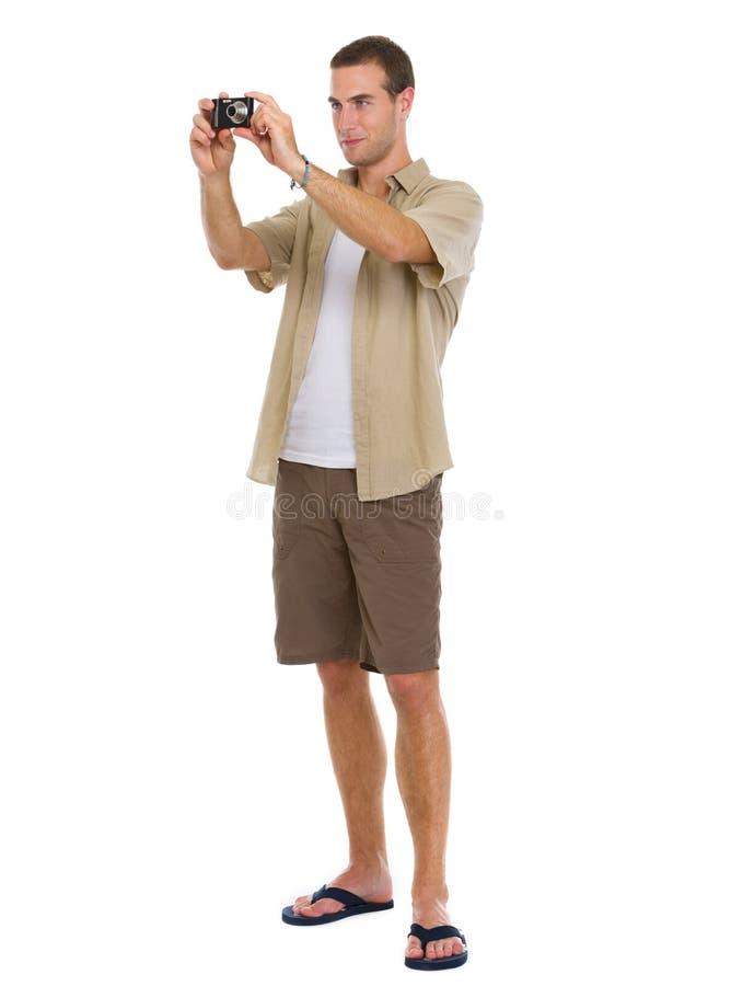 Turista que faz fotos dos pontos do interesse imagens de stock