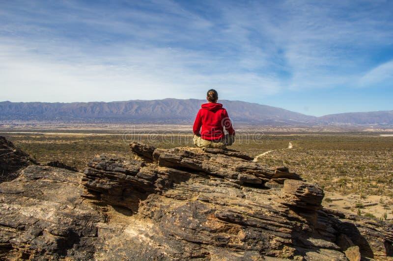 Turista que mira al valle fotografía de archivo