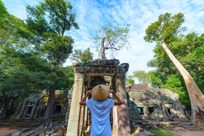 Turista que olha as raizes famosas da árvore da selva de Ta Prohm que abraçam os templos de Angkor, vingança da natureza contra c imagens de stock