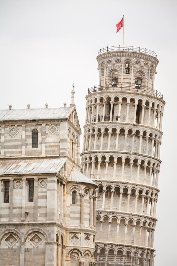 Turista que sightseeing a torre inclinada de Pisa fotografia de stock royalty free