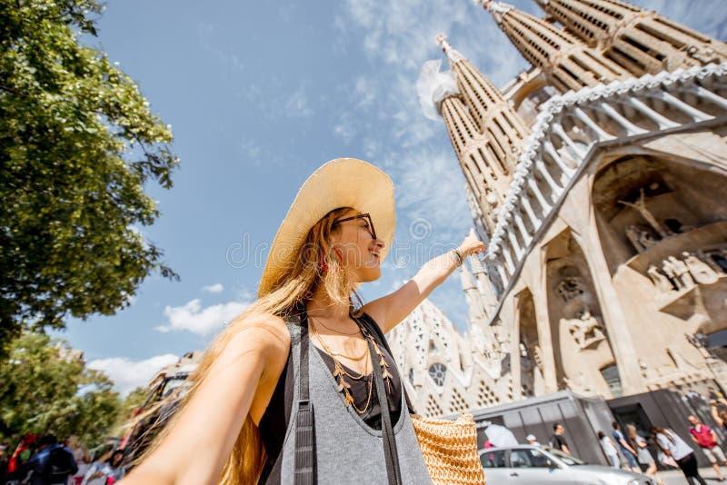 Turista que viaja en Barcelona foto de archivo libre de regalías